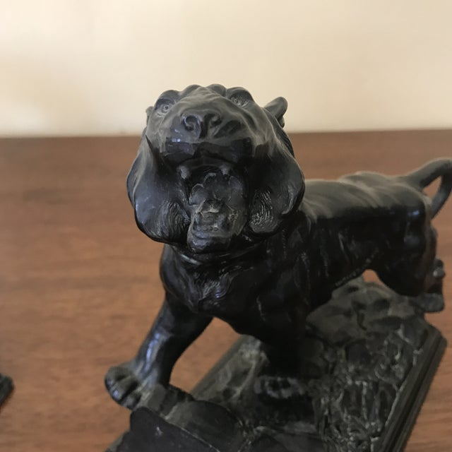Art Deco Bronze Tiger Bookends - a Pair For Sale - Image 9 of 12