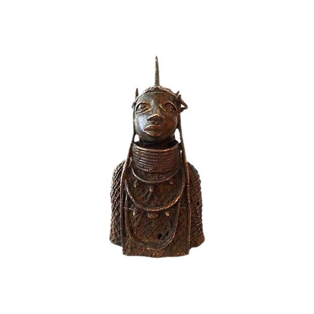 Oba Nigeria Benin Bronze Figure For Sale