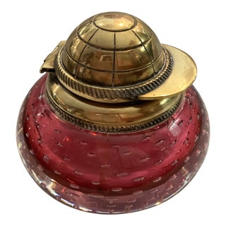1930's Cranberry Glass Inkwell With Jockey Cap Lid For Sale
