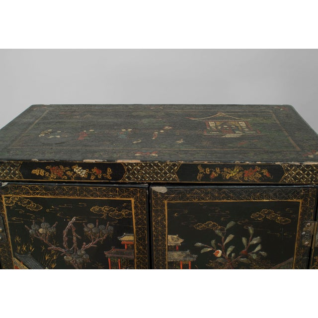 Asian Asian Chinese Style Black Lacquered and Chinoiserie Decorated 2 Door Cabinet For Sale - Image 3 of 6