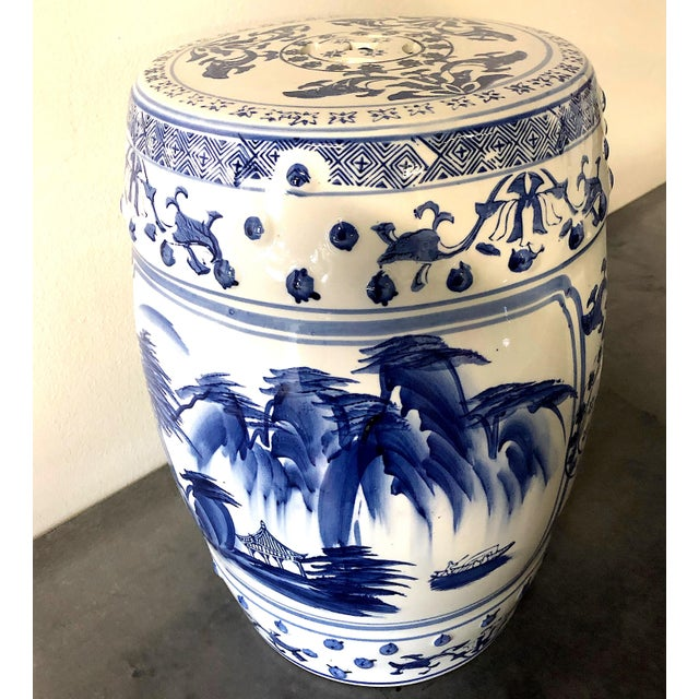 Chinese Blue/White Porcelain Garden Stool For Sale - Image 10 of 10
