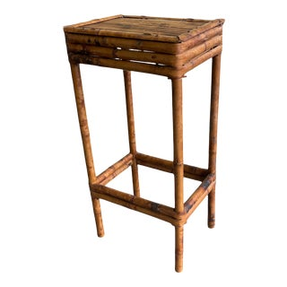 Bamboo Tortoise Rattan Tall Side Table/Plant Stand For Sale
