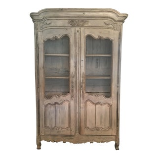 18th Century French Country Armoire With Original Whitewash Finish, 1795