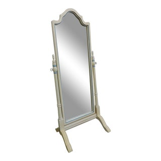 French Painted Floor Standing Cheval Bedroom Bathroom Mirror For Sale
