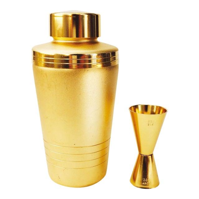 Vintage Mirro Gold Aluminum Cocktail Shaker Set - Image 1 of 6