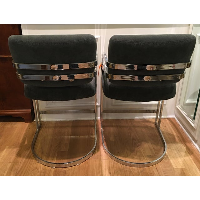 Mid-Century Milo Baughman Chrome Bar Stools - A Pair - Image 4 of 4