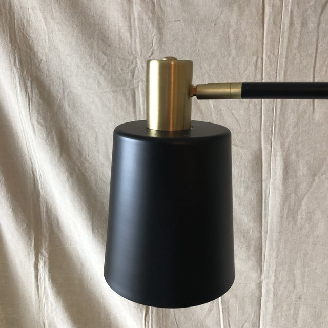 Modern Mid-Century Style Articulated Arm Brass and Black Floor Lamp For Sale - Image 3 of 9