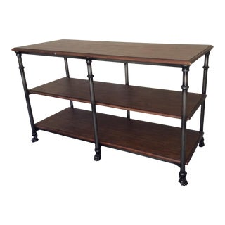 Pottery Barn Solid Wood and Iron Shelving Unit For Sale