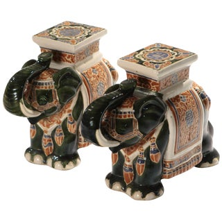 Pair of French Hollywood Regency Porcelain Elephant Decoration, 1970s For Sale