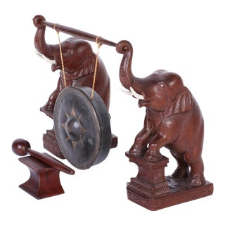 Anglo Indian Bronze Gong with Elephants - A Pair For Sale