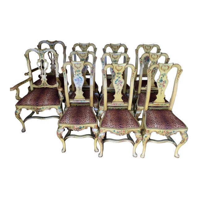 Antique Italian Painted Dining Chairs - Set of 8 - Antique Italian Painted Dining Chairs - Set Of 8 Chairish