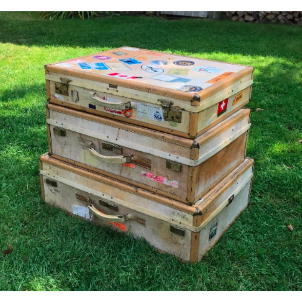 3 Travel Suitcases, Vintage Stickers, Trio of Stacking Cases For Sale - Image 6 of 7