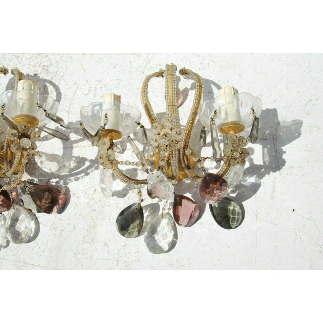 C. 1940's French Regency Maison Bagues Style Beaded Crystal with Lavender Sconces - a Pair For Sale In Miami - Image 6 of 7
