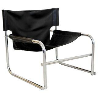 Mid-Century Modern Rodney Kinsman Chrome & Black Leather Sling Armchair, 1960s For Sale