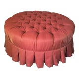 Image of Ethan Allen Round Tufted Cocktail Ottoman For Sale
