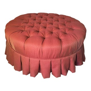 Traditional Style Ethan Allen Round Red Upholstery Tufted Cocktail Ottoman