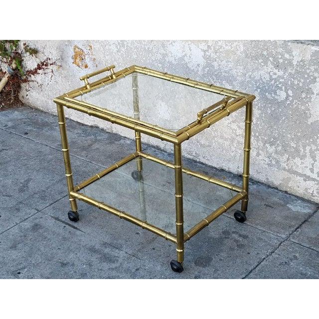 Vintage Gold Bamboo Bar Cart - Image 4 of 5