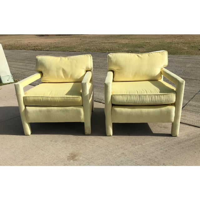 1980s Vintage Yellow Velvet Milo Baughman Style Parsons Open Arm Club Chairs- A Pair For Sale - Image 10 of 12