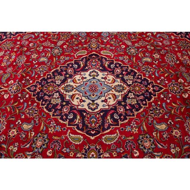 "Brick Red Vintage Persian Kashan Rug, 9'07"" X 13'00"" For Sale - Image 8 of 10"