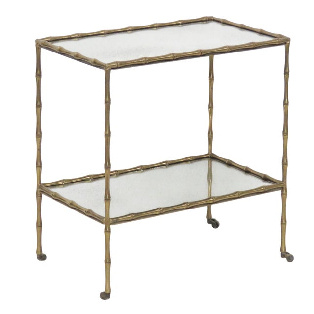 Brass Faux Bamboo & Eglomise Mirror Top Bar Cart For Sale