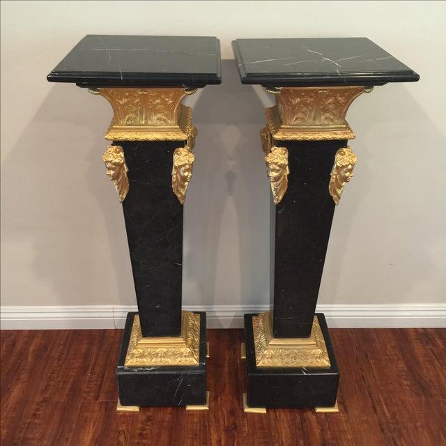Ormolu-Mounted Black Marble Pedestals - Pair - Image 4 of 11