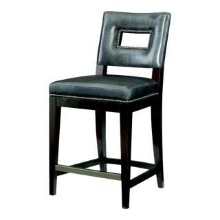 Century Furniture Campe Counter Stool, Gunmetal Leather For Sale