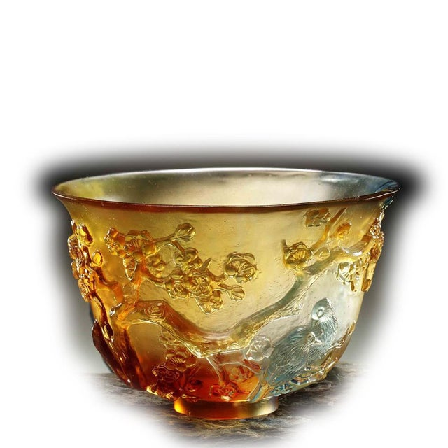 """Contemporary Crystal Limited Edition Plum Blossom Bowl """"The Plum Gentleman"""" in Amber Sky Blue For Sale - Image 3 of 3"""