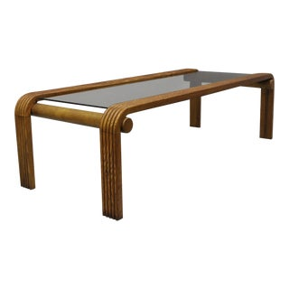 Vintage Lou Hodges Style Mid-Century Modern Oak Wood Floating Glass Coffee Table