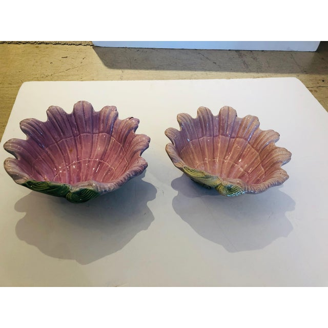1920s Pink and Green Majolica Clam Shell Bowls - a Pair For Sale - Image 5 of 13