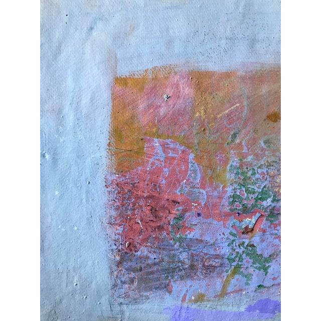 """Patricia Zippin Pink Rectangle 1980s Mixed Media 20""""x 14.25"""", unframed Signed bottom right corner Excellent Condition-..."""