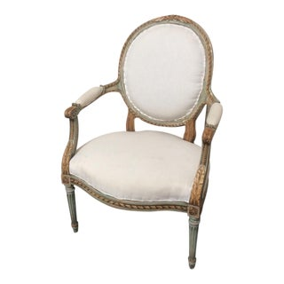 Antique French Armchair With Painted and Natural Wood Finish For Sale