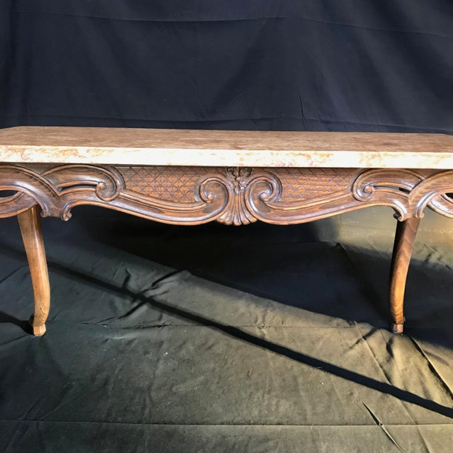 1920s Louis XV Style Carved French Coffee Table With Marble Top For Sale - Image 5 of 9