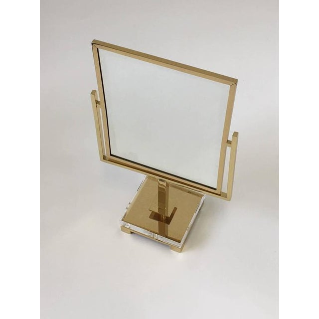 Polished Brass and Acrylic Vanity Mirror by Charles Hollis Jones For Sale In Palm Springs - Image 6 of 8