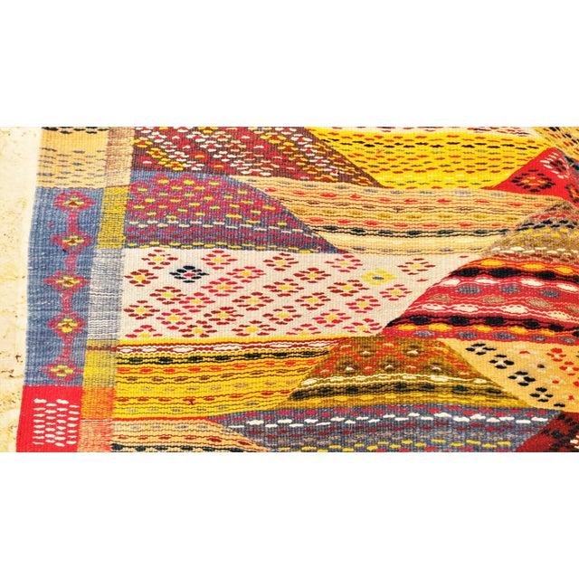 """Moroccan Zanafi Tribe Berber Wool Kilim Area Rug 76.5"""" x 42"""" - Image 4 of 7"""