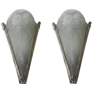 Pair of Floral French Art Deco Sconces For Sale