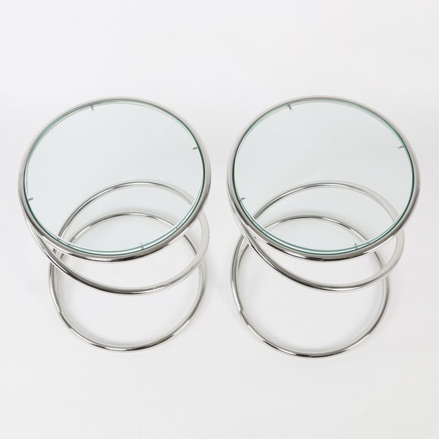 Pace 1970's VINTAGE PACE COLLECTION CHROME SPRING SIDE TABLES- A PAIR For Sale - Image 4 of 11