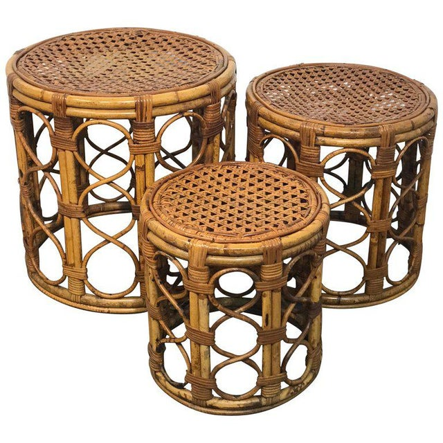 Set of Three Graduating/ Nesting Bamboo, Rattan and Reed Nesting Side Tables For Sale - Image 13 of 13