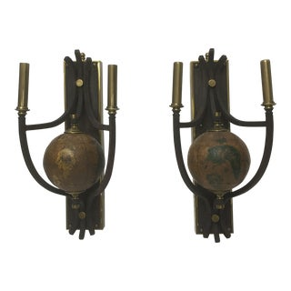 Brass Cartography Sconces, a Pair For Sale