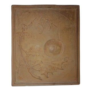 1930s Antique Art Deco Terra-Cotta Botanical Floral Plaque For Sale