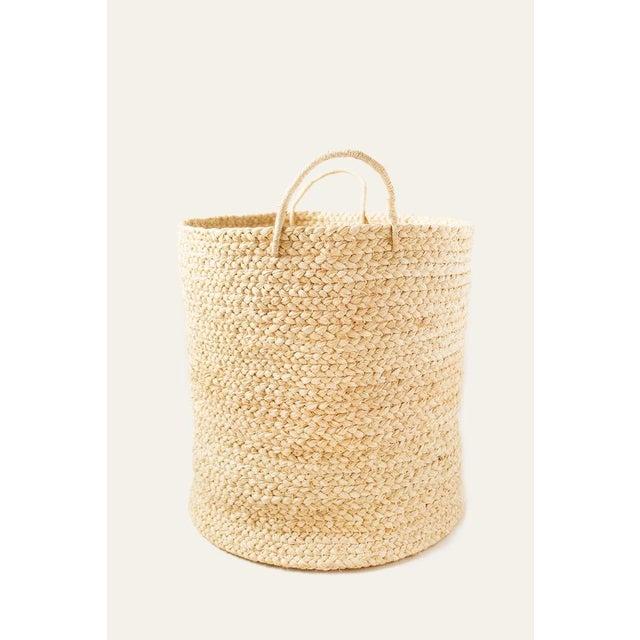 Indego Africa Large Handwoven Braided Raffia Basket For Sale - Image 4 of 4