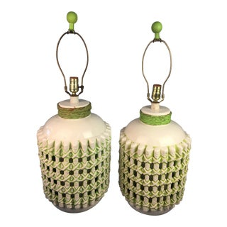 Vintage 1960s White and Green Ceramic Lamps - a Pair For Sale