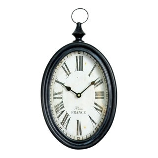 Iron Oval Black and White Wall Clock For Sale