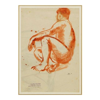 1950s Seated Male Nude Ink Wash Drawing by Yohanan Simon For Sale