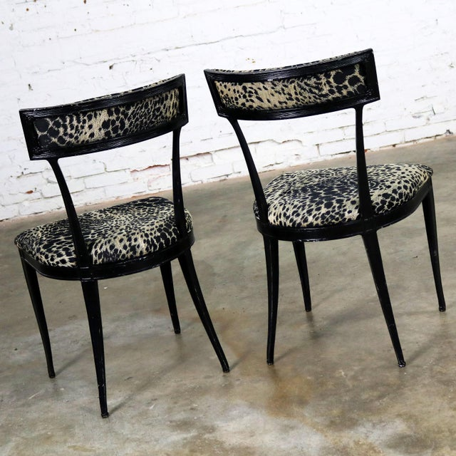 Mid 20th Century Pair Black Art Deco and Animal Print Side Chairs Cast Aluminum by Crucible Products For Sale - Image 5 of 13