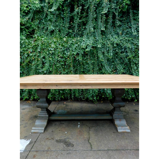 Palazzo Rustic Trestle Pine Dining Table For Sale - Image 11 of 12