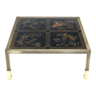Brass and Gold Decorated Reverse Painted Glass Top Square Coffee Table For Sale