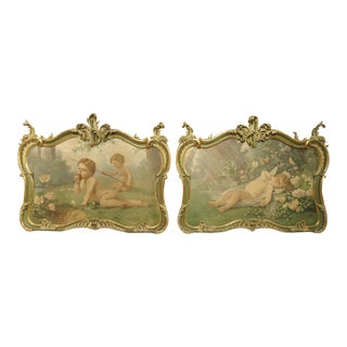 Pair of 19th Century Louis XV Style Overdoor Paintings From Italy v.sinaglia 1899