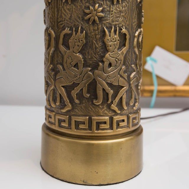 Mid-Century Brass Archaic Style Table Lamps - a Pair - Image 4 of 7