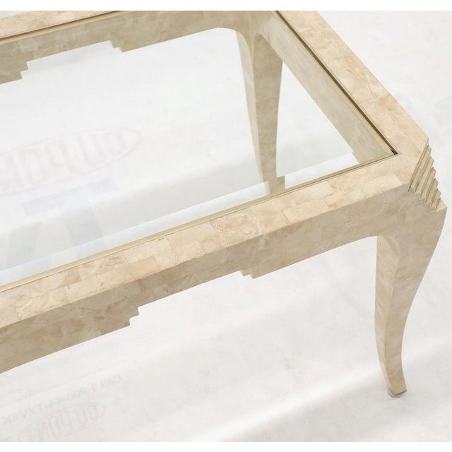 Tessellated Stone Brass Inlay Rectangular Side End Table Glass Top For Sale - Image 9 of 12