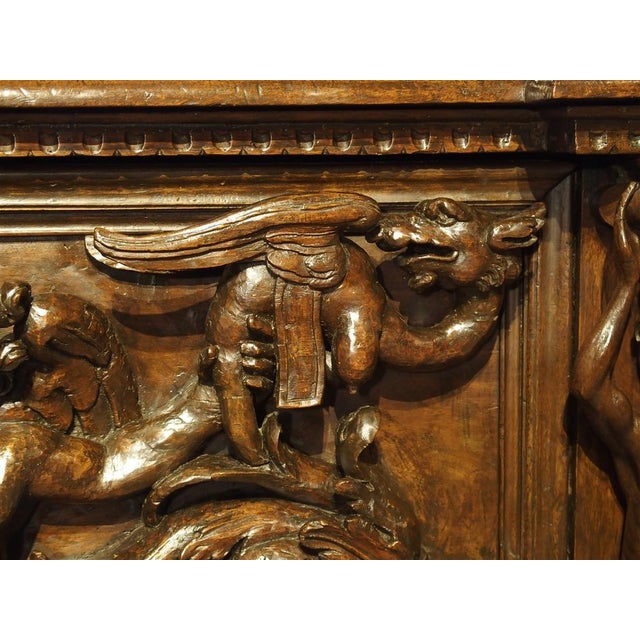Brown Antique Italian Walnut Wood Buffet / Credenza From Rome, 19th Century For Sale - Image 8 of 13
